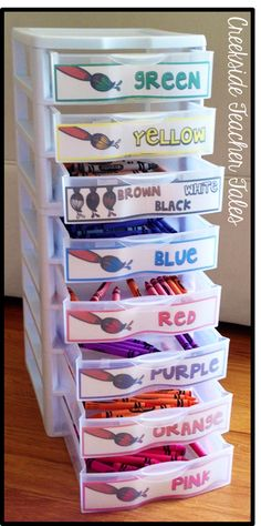 Art supplies separated by color for easier organization. Also helps kids to learn colors better.