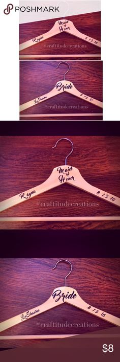 Personalized Bridal Party Hangers  Personalized wood hangers are perfect for Brides, Bridesmaids, Maid of Honor, Mother, Flower girl, Etc...  Each hanger is personalized using high quality permanent vinyl in the color of your choice.  Each hanger includes: Name Date Title  At the time of checkout, please leave a note to seller with: Name Title Wedding Date  Hangers are made of light or dark finish wood as seen in pic.   This listing is for one hanger. Dresses Wedding