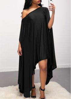 Asymmetric Dolman Poncho Tunic Dress-Black-M Asymmetric Hem Skew Neck Batwing Sleeve Black Dress Sexy Dresses, Cute Dresses, Beautiful Dresses, Casual Dresses, Fashion Dresses, Elegant Black Dresses, Loose Dresses, Dresses Dresses, Look Fashion