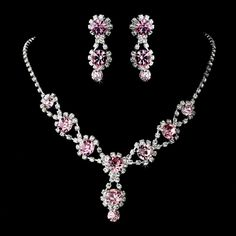 Pink Bridesmaid Necklace and Earrings