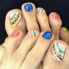 Rainbow Toe Nail art <3