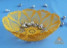 Digital crochet pattern Yellow openwork vase and round lace doily  #crochetpattern  #vases #crochetvase #doily #patternsforcrochet #patterndoily