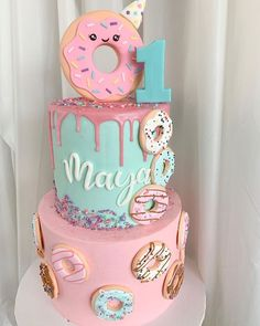 Donut party is so sweet! Donut party is so sweet! 2nd Birthday Party For Girl, Donut Birthday Parties, Bday Girl, Birthday Party Themes, Birthday Ideas, Donut Birthday Cakes, Donut Cakes, 10th Birthday, Donut Party