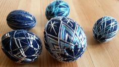 Easter eggs Blue temari Hand stitched ornament Easter Gift by MonaSaadHandmade on Etsy