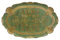 Green Florentine Tray