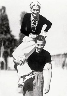 Coco Chanel on Serge Lifar's shoulder in 1937 / photo by Jean Moral © Brigitte Moral / modefotograaf