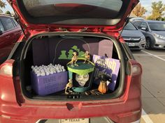 Haunted mansion candy display for trunk or treat. Haunted Mansion Halloween, Hitchhiking Ghosts, Candy Display, Halloween Traditions, Trunk Or Treat, Trunks, Lunch Box, Things To Come, Creative