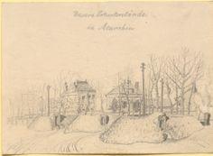 """""""Unsere Notunterstände in Meurchin"""", Bleistiftzeichnung: Im Vordergrund befinden sich die behelfmäßigen Unterkünfte. Im Hintergrund sind mehrgeschossige Häuser sichtbar, die von Bäumen flankiert werden. Bestand 192-31, Nr. 26."""