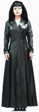 women's long leather coat front