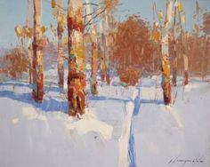 Birches Grove, Landscape oil Painting, One of a kind