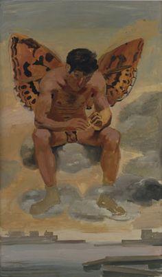 "Yannis Tsarouchis ""Spirit of boredom, above Piraeus"" Athens, 1968 (Oil on paper) Greek painter Art Masculin, Fantasy Art Men, Gay Comics, Queer Art, Art Of Man, Fantasy Paintings, Art Database, Human Art, Gay Art"