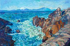 Oil painting of Pebble Beach with red rock and viridian sea colors painted by impressionist Erin Hanson