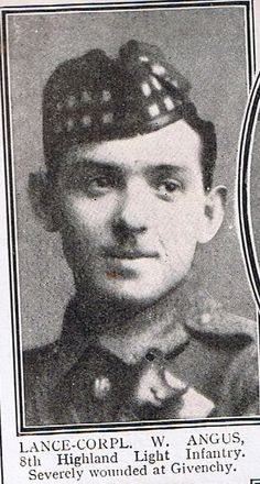 WILLIAM ANGUS VC World War 1 8th Highland Light Infantry, Severely wounded at Givenchy France.