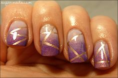 Sweet Sugar: Purple and Gold Tape Manicure