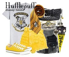 """Hufflepuff"" by disney-bound ❤ liked on Polyvore featuring Givenchy, dELiA*s, Pieces, Converse and Cabbage is King"