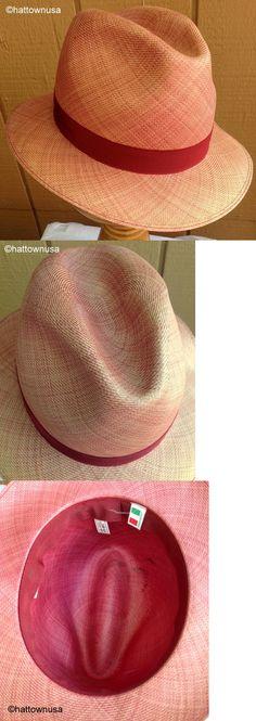 74a7b1b3dce1b Mens Hats 163619  Vintage Italian Super Fine Baku Straw Fedora Faded Red  56Cm Unused As Is -  BUY IT NOW ONLY   85 on eBay!