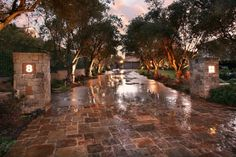 LOVE this stone driveway + a tree-lined driveway Stamped Concrete Driveway, Stone Driveway, Driveway Design, Driveway Landscaping, Concrete Driveways, Outdoor Landscaping, Driveway Ideas, Landscaping Ideas, Acreage Landscaping