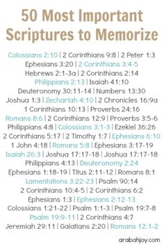 Have you ever wanted to memorize scripture but don't know where to start? Here are 50 important scriptures to memorize and includes a FREE printable for learning one a week