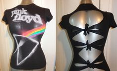 Pink Floyd handmade band shirt with criss cross desgined back. Ladies size small. Super soft, comfortable, light weight, great for this summer! Be different, stand out, get this vintage style classic rock shirt all to yourself! There is only one, this will not be remade so get your hands on it while it lasts! Come check out Chop Shop Clothing for all your DIY rocker, band shirts, heavy metal, punk rock, nu metal, classic rock style shirts etc..