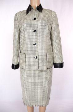 LAFAYETTE 148 Skirt Suit Size 8 M Cream Black Leather Trim Jacket Wear To Work #Lafayette148NewYork #SkirtSuit