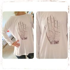 Loose White Top with Stamp by MaryMe   #top #blouse #loose #winter #white #hand #fortune #fortuneteller #casual #funny #art #fashion #style #handmade #maryme