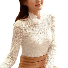 EXIU Womens Casual Long Sleeve Lace Floral Shirt Slim Blouse Top -- See this great product.