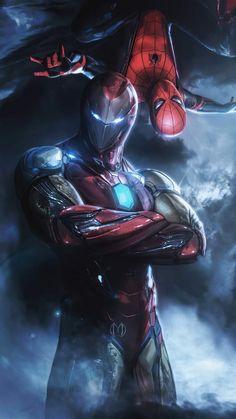 Iron Man Spiderman, Iron Man Avengers, Spiderman Art, Spiderman Images, Avengers Art, Young Avengers, Black Panther Marvel, Foto Batman, Iron Man Photos
