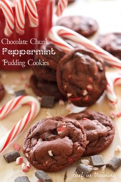 3/4 cup butter, softened  3/4 cup brown sugar, packed  1/4 cup sugar  1 small package Devil's Food instant pudding mix, dry (you could also just use chocolate, too)  2 eggs  1 tsp. vanilla extract  1 tsp. baking soda  2 1/4 cups flour  1 cup Andes Peppermint Crunch Baking Chips  1 cup semi-sweet chocolate chunks