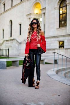 mia mia mine in a red bell sleeve top from revolve and chelsea paris tassel heels