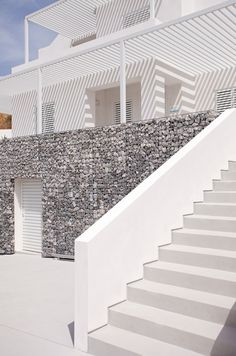 These stairs can be found at a boutique hotel in Greece.