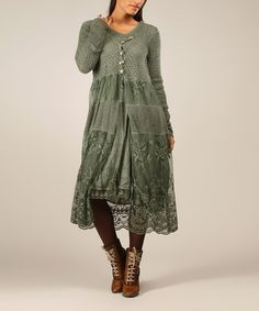 Look what I found on #zulily! Green Nat Mohair-Blend Duster by Charlotte&Louis #zulilyfinds