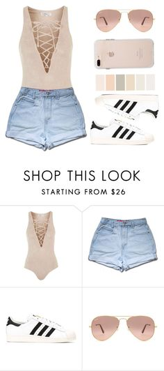 """Sans titre #64"" by lesliekagengele ❤ liked on Polyvore featuring Topshop, adidas and Ray-Ban"