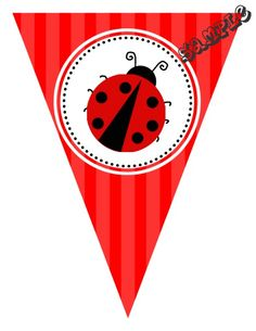 "DIY Lady Bug Birthday Party Pendant Banner. Design Online Download & Print Immediately. Any Color Scheme. Pendant Banners each panel measures: 8.5"" x 11"" (19.75 CM x 25.85 CM)  Hot Glue or Tape Pendants to your string. Or punch holes and tie together with matching ribbon. Print at home or take to a place like Kinko's, Office Max, Copy Max, Staples or other stores that offer printing services."