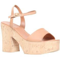 Carvela Karol Platform Block Heeled Sandals, Tan ($90) ❤ liked on Polyvore featuring shoes, sandals, chunky platform sandals, leather strappy sandals, tan flat sandals, strappy high heel sandals and leather strap sandals