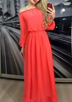 Red Plain Ruffle Boat Neck Sexy Maxi Dress