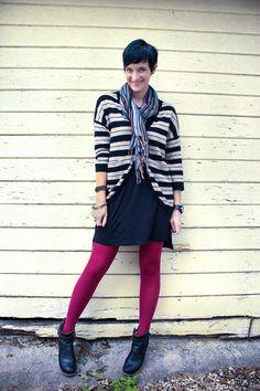 dress w/ striped blazer & colored tights