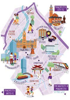 manchester city illustration : map illustration of manchester city centre for Manchester University Manchester Oxford Road, Manchester Map, Manchester City Centre, University Of Manchester, Barcelona City Map, Design Thinking, Victoria City, Village Map, Oxford City