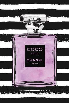 Purple Perfume On Black Stripes Canvas Wall. Pink Perfume, Chanel Perfume, Perfume Bottles, Chanel Room, Chanel Decor, Canvas Art Prints, Canvas Wall Art, Coco Fashion, Office Pictures