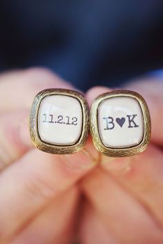 Gold personalized cuff links with the wedding date and the couple's initials - A great gift for the groom.