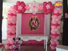 Minnie arch balloons decorations, arco de globos Minnie Pink, Minnie Pink Party ideas, balloons Riviera Maya, balloons decorations