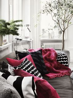 Lotta Agaton for Marimekko Nordic Design Marimekko, Scandinavian Interior Design, Scandinavian Home, Home Interior Design, Nordic Design, Fashion Room, Soft Furnishings, Home Living Room, Home Decor Items