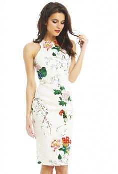 Vestido floral sin mangas-blanco 21.11