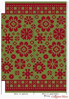 Снуд Цветы из Латвии - Жаккард - Страна Мам Knitted Mittens Pattern, Loom Knitting Patterns, Knitting Charts, Knitting Stitches, Cross Stitch Patterns, Sock Knitting, Knitting Tutorials, Free Knitting, Knitting Machine
