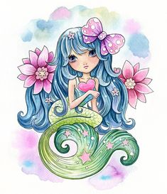 Original Watercolor painting on paper by Jeremiah Ketner x 10 inches Unframed World wide shipping Mermaid Fairy, Cute Mermaid, Mermaid Drawings, Mermaid Tattoos, Unicorns And Mermaids, Mermaids And Mermen, Mermaid Wallpapers, Watercolor Mermaid, Mermaid Pictures