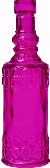 Fuchsia Pink Vintage Colored Glass Bottle