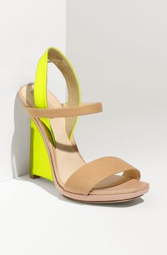 Today's So Shoe Me is the Architect Wedge Sandal by Reed Krakoff, $795, available at Nordstrom. These nude + neon wedges are the type of shoe you try to find a reason to hate but in the end hit the buy button, cut up your credit card and continue a diet of Ramen Noodles until the next great heel is in sight (so 3.637 days).