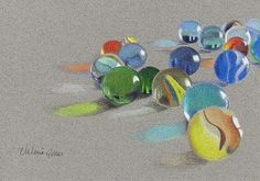 """""""Lost Marbles"""" This is coloured pencil on toned paper  - I'd love to try something like this! The shine of the glass is awesome :)"""