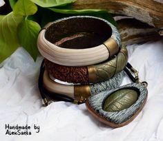 Polymer clay jewelry set Polymer clay bracelet Polymer clay pendant Organic jewelry set pendant brac