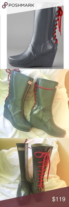 Hunter Verbier wedge boots laces rain gray red 9 Hunter boots in like new condition. Size 9. I was only able to find one little spot on the back of one boot as pictured- practically flawless. And check my bundle discount.  Hunter Boots Shoes Winter & Rain Boots