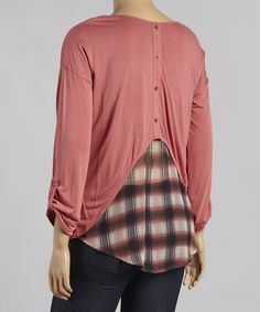 Love this Deep Pink Zipper-Pocket Scoop Neck Top - Plus by Mine Too on #zulily! #zulilyfinds